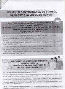 Preveniti contaminarea cu virusul SARS-COV-2 la locul de munca!